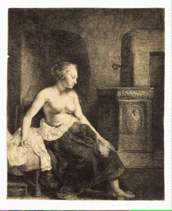 Half-Naked Woman by a Stove | Rembrandt | oil painting