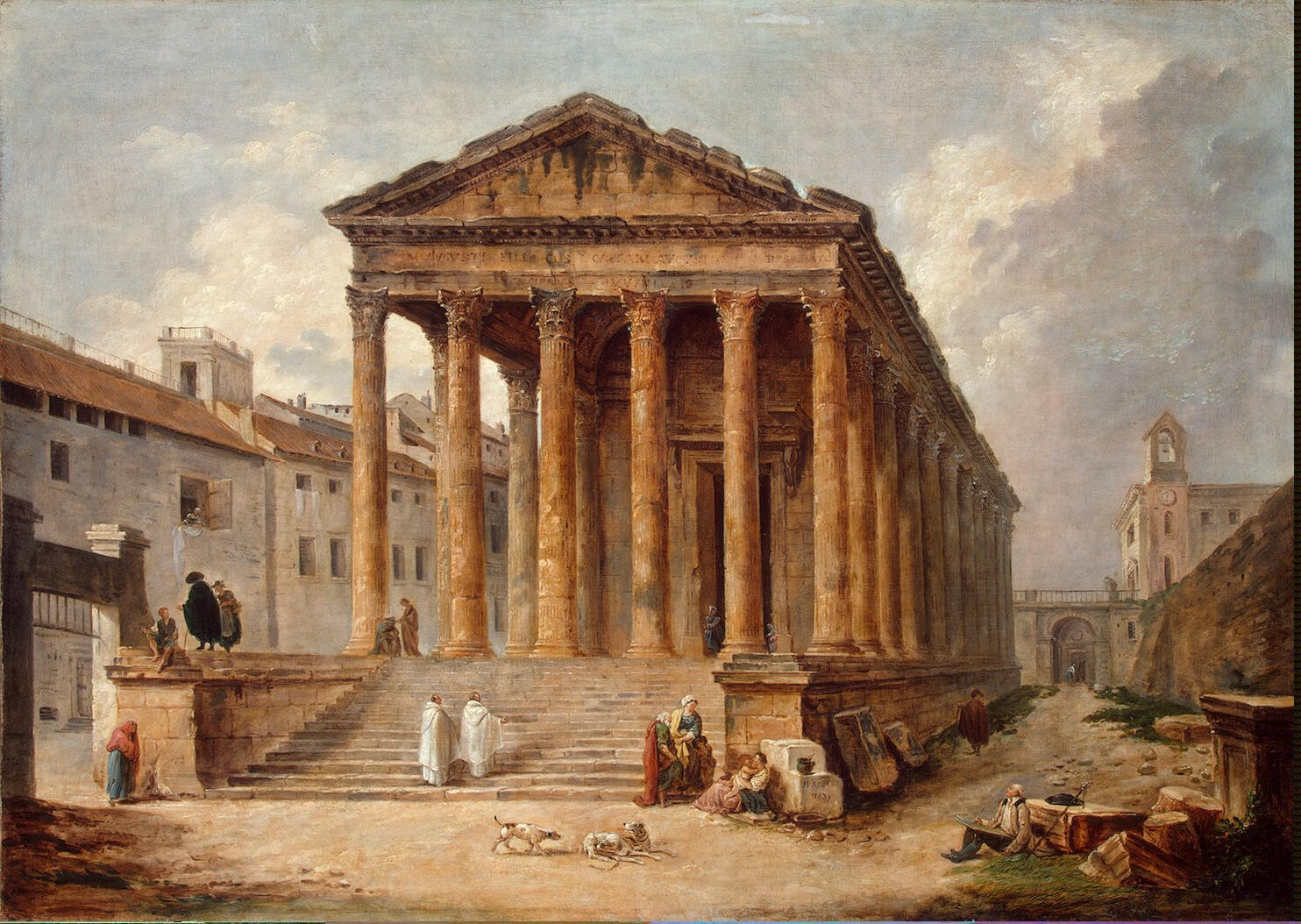 Ancient temple the maison carree at nimes painting - Maison carree nimes ...