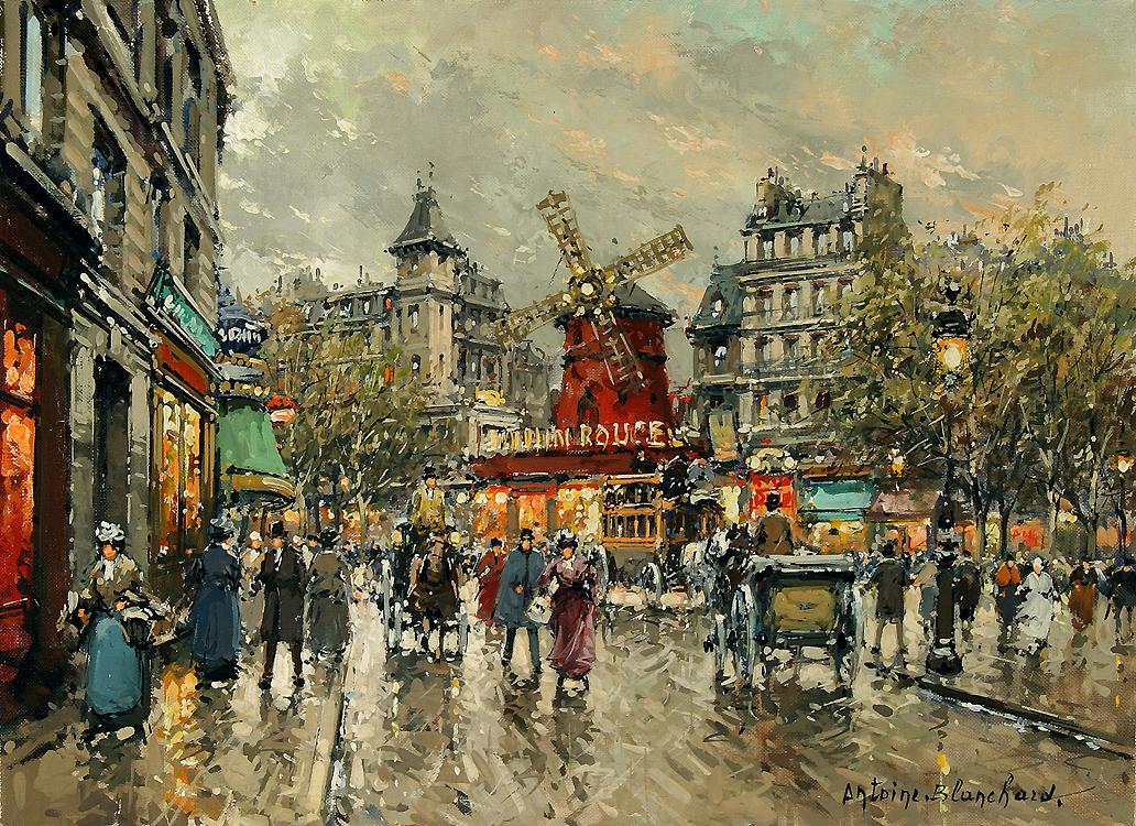 Le Moulin Rouge Place Blanche a Montmartre Painting | Antoine ...