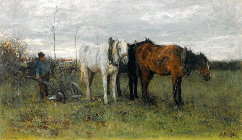 A Girl A Ploughing Farmer | Anton Mauve | oil painting