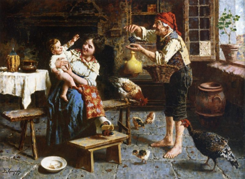 Grapes for Baby | Eugenio Zampighi | oil painting