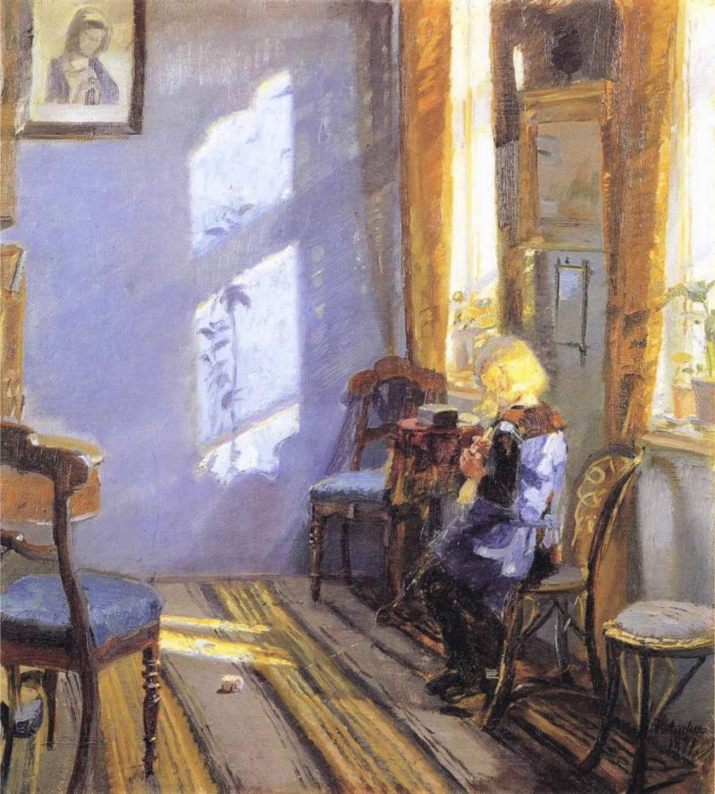 Sunlight in the Blue Room | Anna Ancher | oil painting
