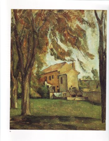 Farmhouse and chestnut trees at jas de bouffan | Paul Cezanne | oil painting