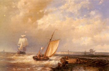 A Dutch Pink Heading Out To Sea With Shipping Beyond | Abraham Hulk Snr | oil painting