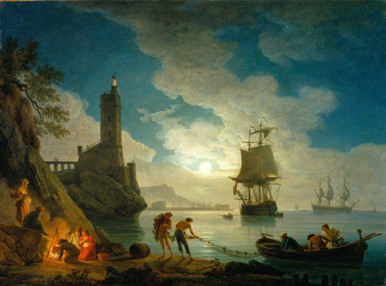 A Harbor in Moonlight   Joseph Vernet   oil painting