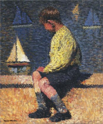 A boy with sailboats | Henri Martin | oil painting