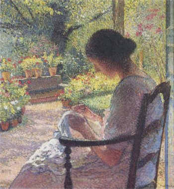 A woman sewing | Henri Martin | oil painting