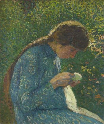 A young woman sewing | Henri Martin | oil painting