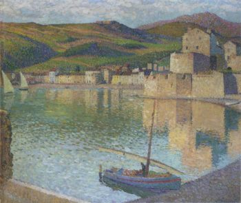 Blue Boat in Port Collioure | Henri Martin | oil painting