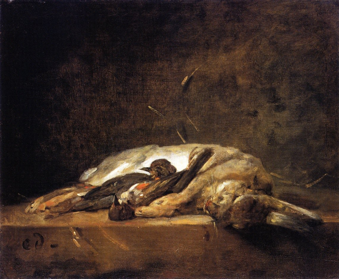 A Rabbit Two Thrushes and Some Straw on a Stone Table | Jean Baptiste Simeon Chardin | oil painting