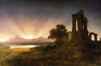 Gothic Ruins at Sunset   Thomas Cole   oil painting