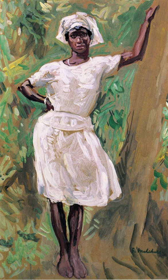 Sketch of Young Black Woman in White Dress and Hat   Gari Melchers   oil painting