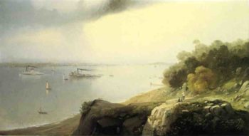 A View of New York From Castle Point Hoboken | Andrew W Melrose | oil painting