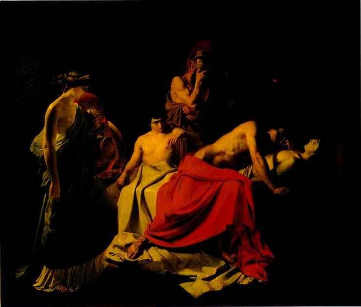 achilles lamenting the death of patroclus 1855 | Nikolay Gay | oil painting