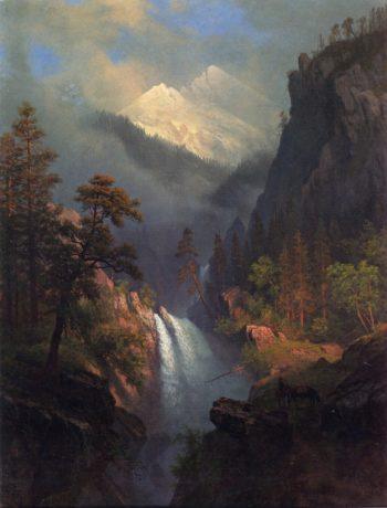 Cascading Falls at Sunset | Albert Bierstadt | oil painting