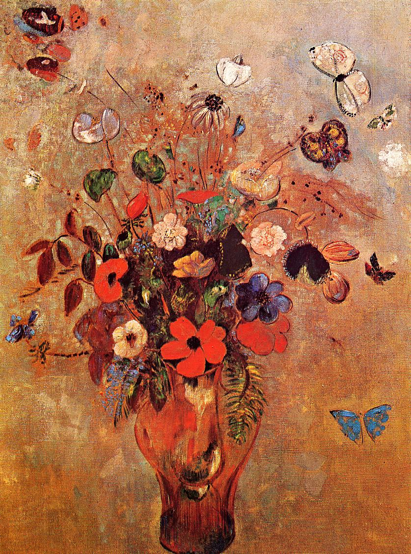 Vase with Flowers and Butterflies Painting | Odilon Redon | Oil ...