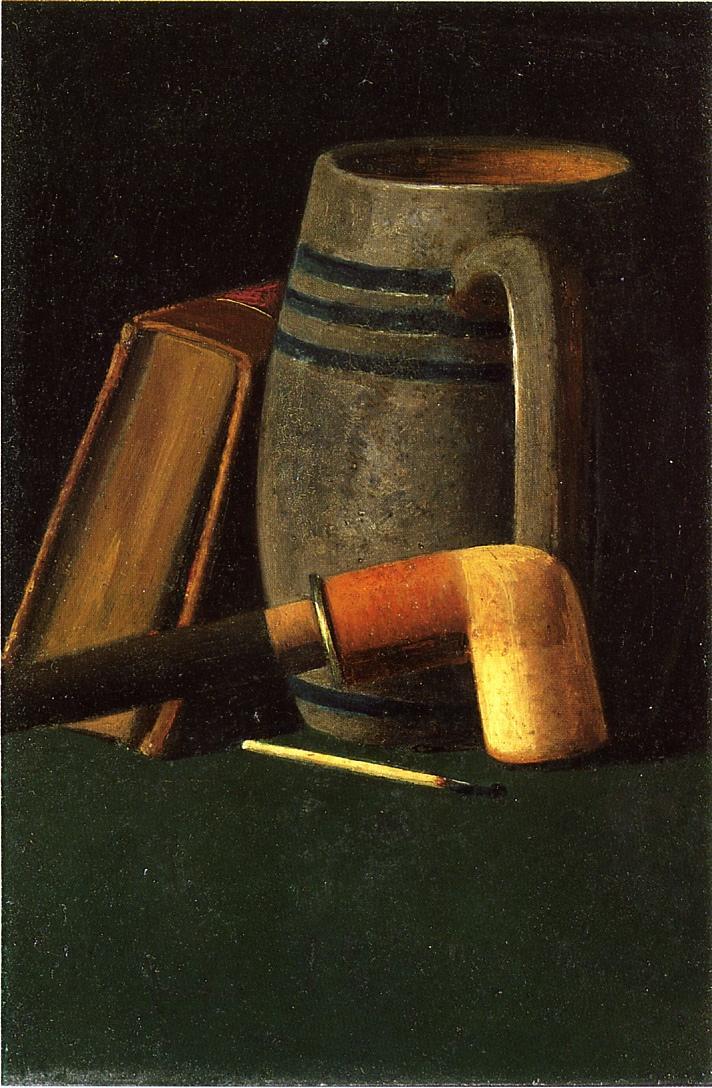 Book Mug Pipe and Match | John Frederick Peto | oil painting