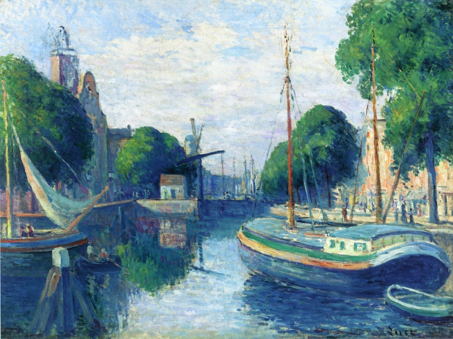 Barges on a Canal at Rotterdam   Maximilien Luce   oil painting