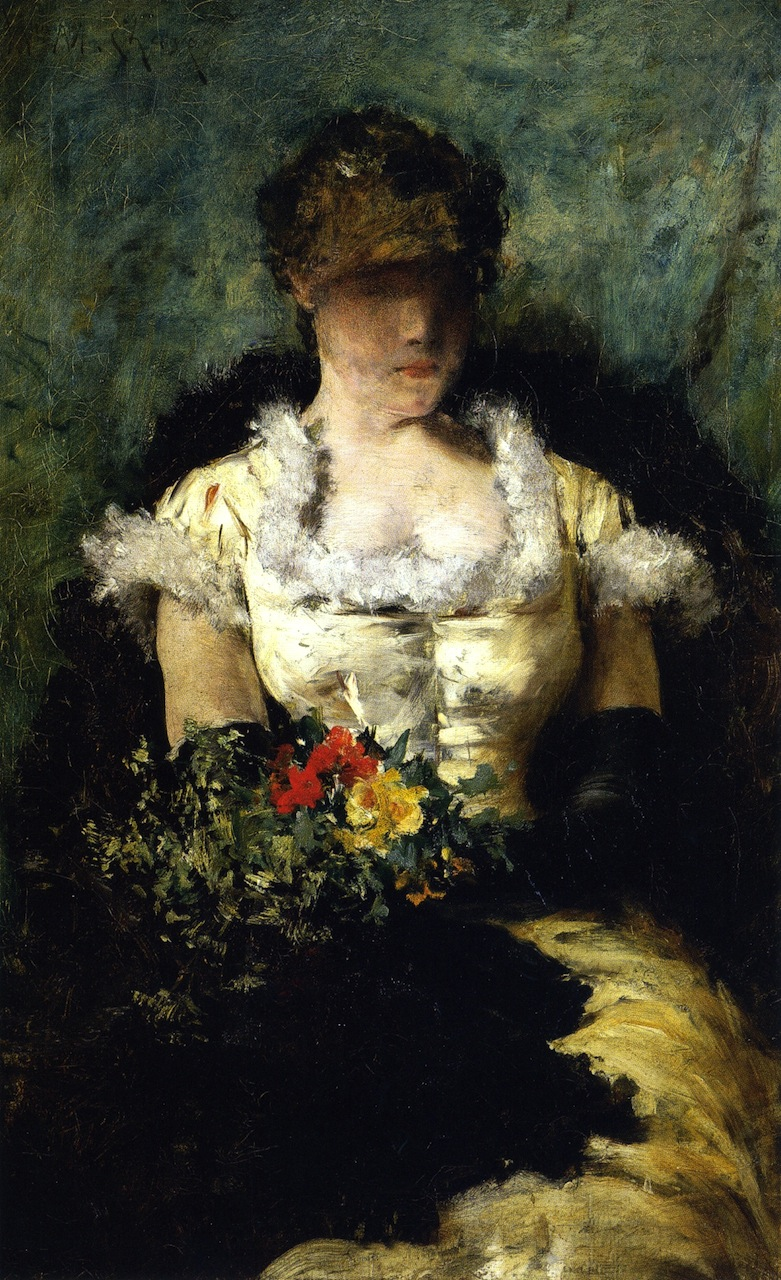 Woman holding a bouquet of flowers painting william merritt chase woman holding a bouquet of flowers william merritt chase oil painting izmirmasajfo