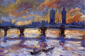 London the Thames Evening | Maximilien Luce | oil painting