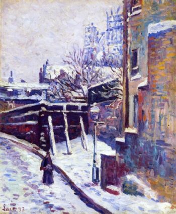 Montmartre Snow Covered Street | Maximilien Luce | oil painting