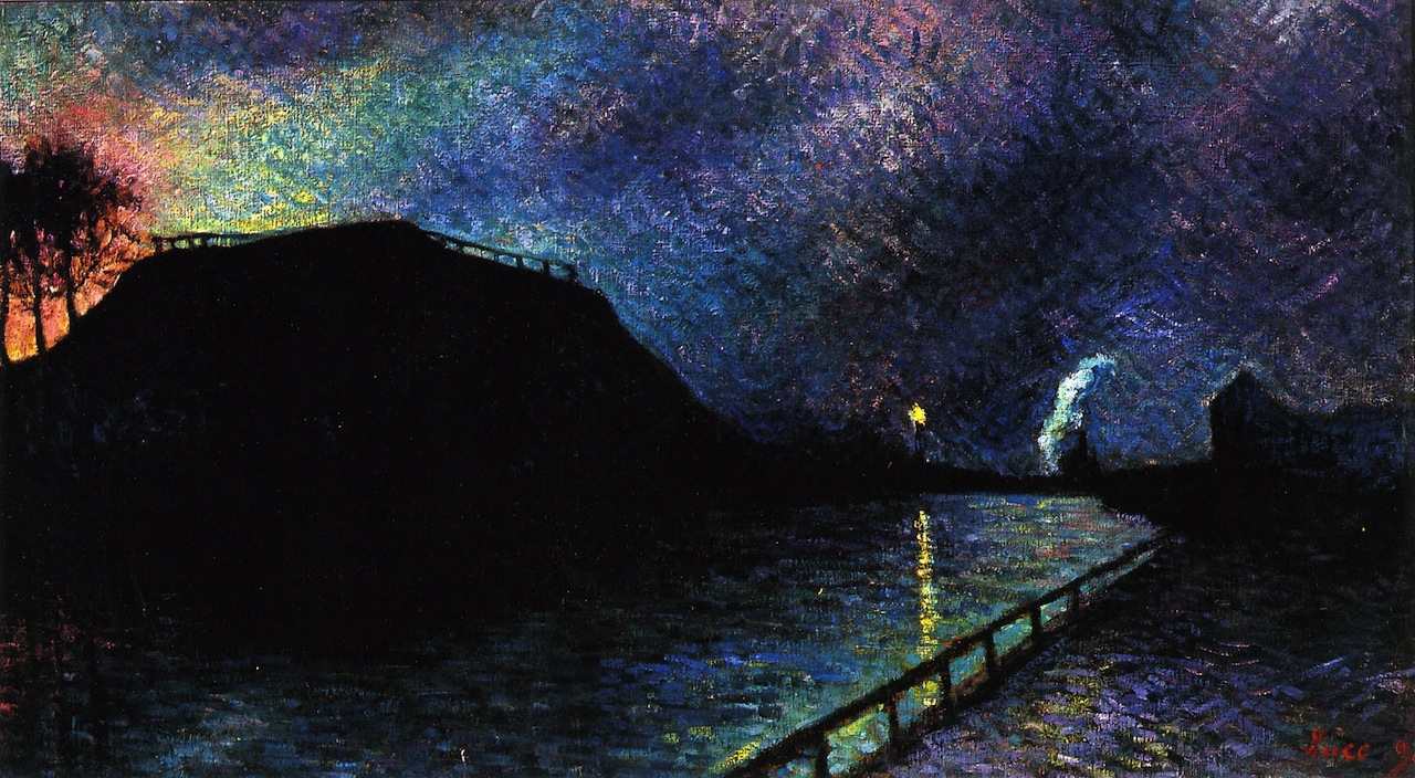 Moonlight on Charleroi Canal | Maximilien Luce | oil painting
