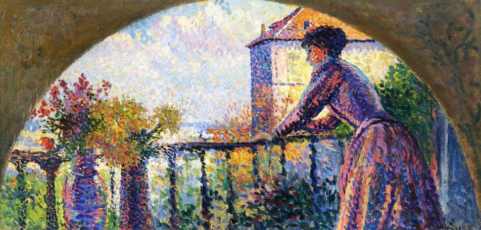 Paris Rue Cortot Madame Luce on the Balcony | Maximilien Luce | oil painting
