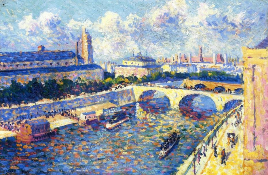 Paris the Seine and the Quai de la Megisserie viewed from the Quai de Horloge | Maximilien Luce | oil painting