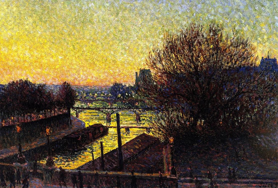 Paris View of the Seine Night | Maximilien Luce | oil painting