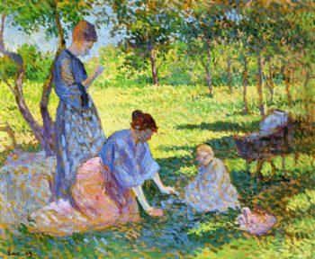 Poissy Women in a Garden   Maximilien Luce   oil painting