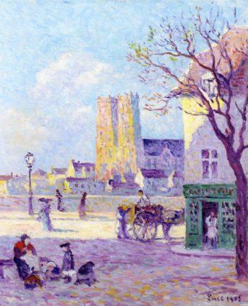 Sainte Croix Cathedral Rue de la Place de la Bascule in Orleans | Maximilien Luce | oil painting