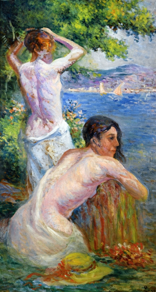 Saint Tropez Two Woman by the Gulf | Maximilien Luce | oil painting