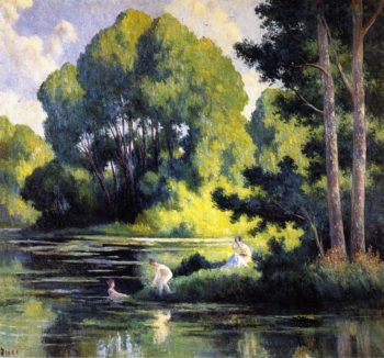 Swimming at Rolleboise | Maximilien Luce | oil painting