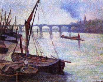 The Thames at London Vauxhall Bridge | Maximilien Luce | oil painting