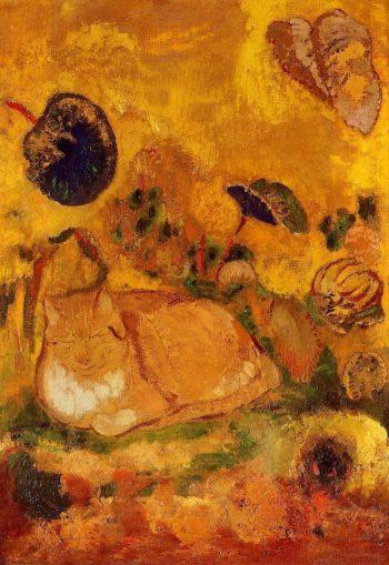 Bazon the Artist's Cat   Odilon Redon   oil painting