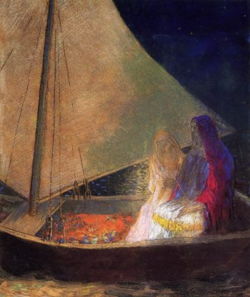 Boat with Two Figures | Odilon Redon | oil painting