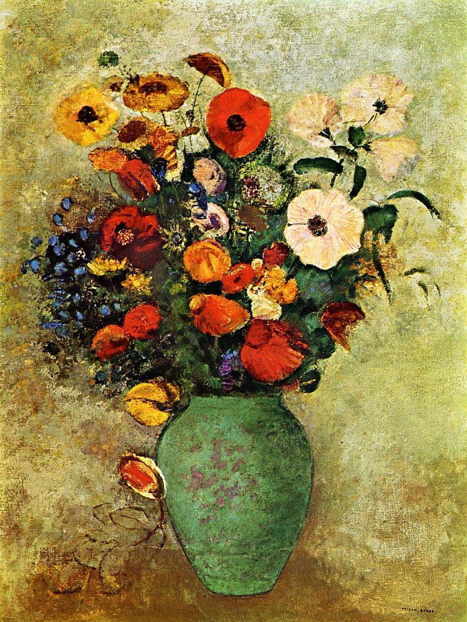 Bouquet of flowers in a green vase painting odilon redon oil paintings bouquet of flowers in a green vase odilon redon oil painting izmirmasajfo