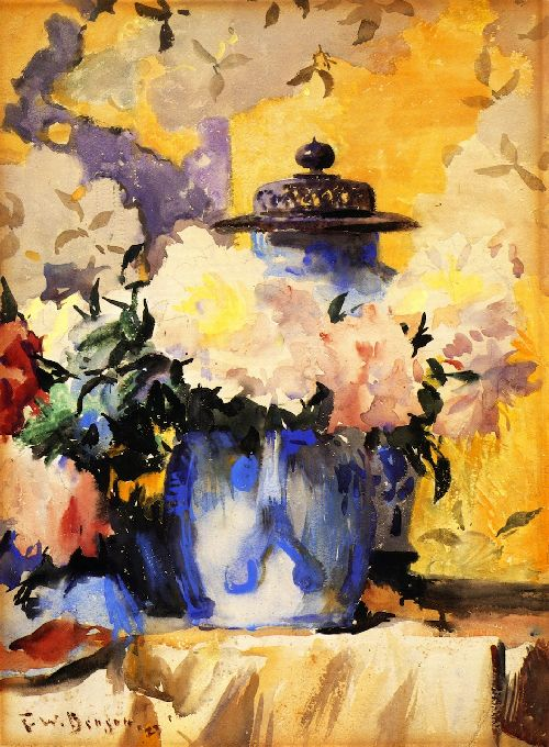 Peonies in Blue China | Frank W Benson | oil painting