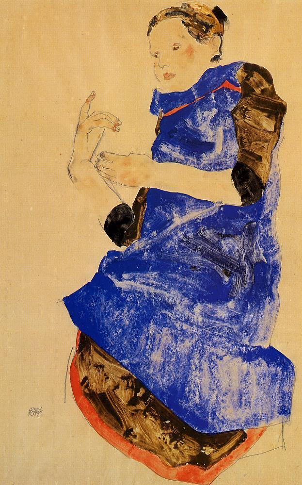 Egon Schiele - Page 5 Girl-in-a-Blue-Apron-Egon-Schiele-oil-painting