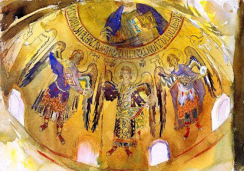 Angels Mosaic Palatine Chapel Palermo | John Singer Sargent | oil painting