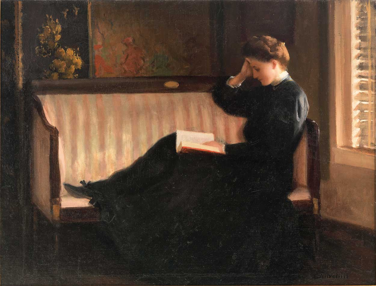 woman reading on a settee painting william worchester churchill