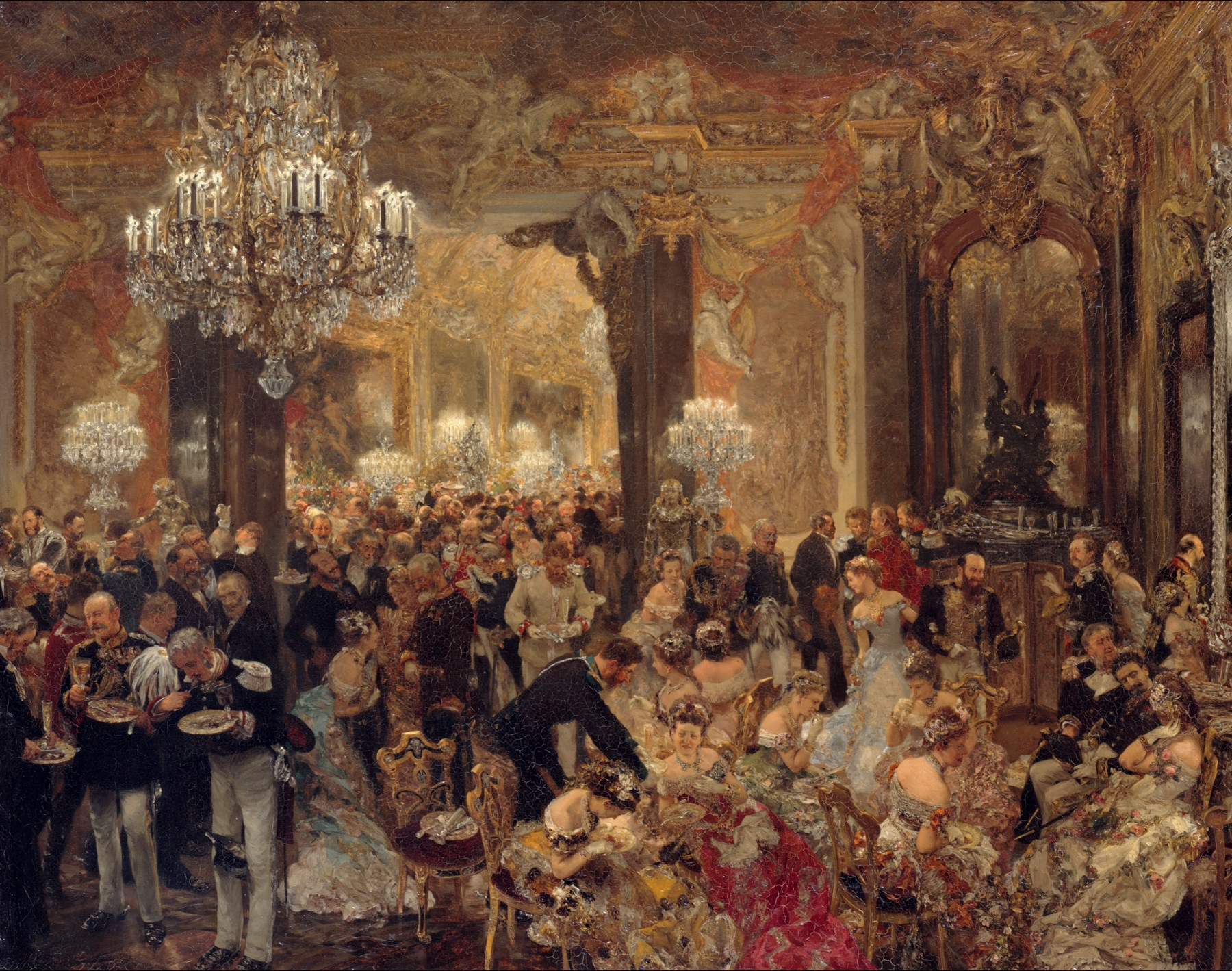the dinner at the ball painting | adolph menzel | oil painting