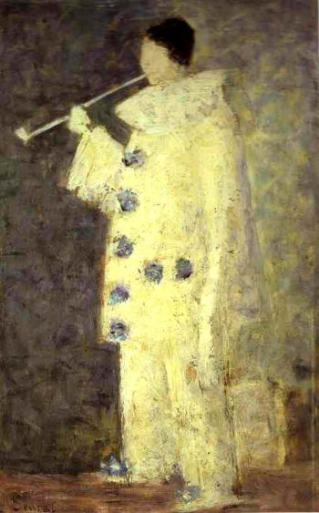 Pierrot with a White Pipe | Georges Seurat | oil painting