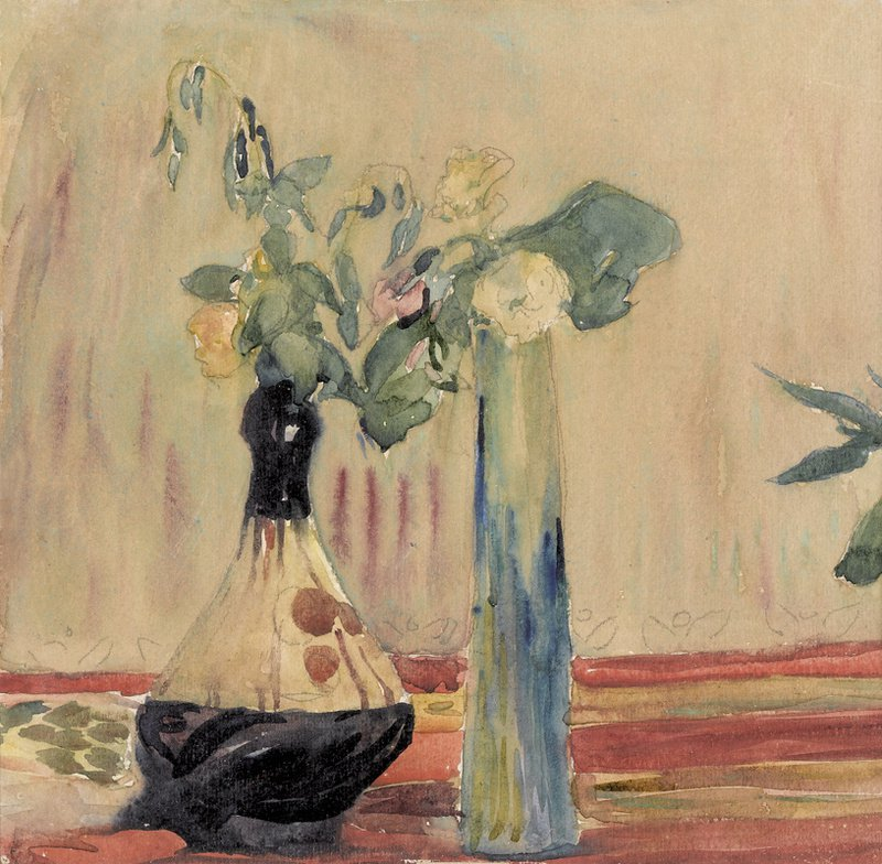 Still Life With Flowers And Vases Painting Giovanni Giacometti Oil