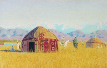 Kyrgyz tent on the Chu River 1869 1870   Vasily Vereshchagin   oil painting