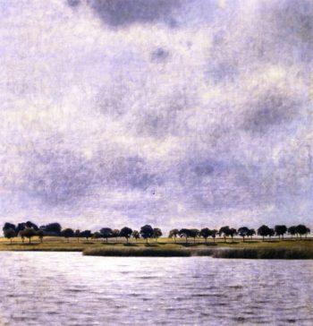 View of Gentofte Lake Sunshower | Vilhelm Hammershoi | oil painting