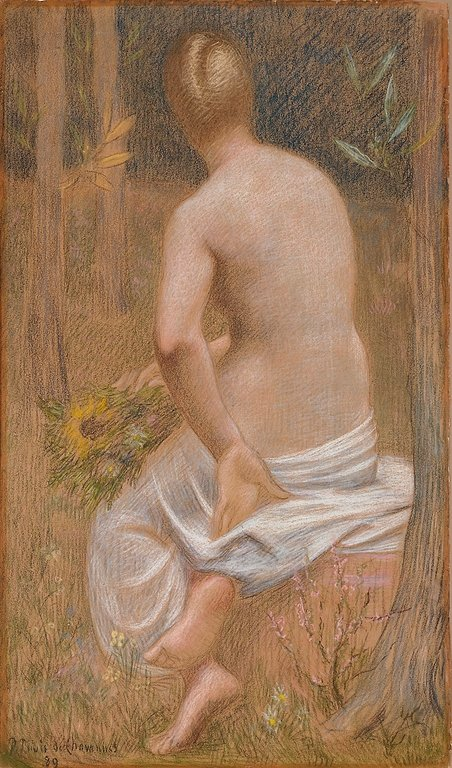 Seated Female Figure Seen From Behind