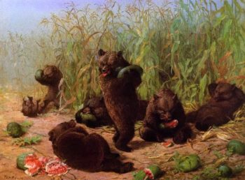 Bears in the Watermelon Patch | William Holbrook Beard | oil painting