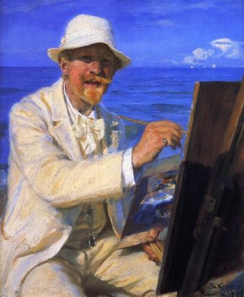 Self Portrait Sitting by His Easel at Skagen Beach | Peder Severin Kroyer | oil painting