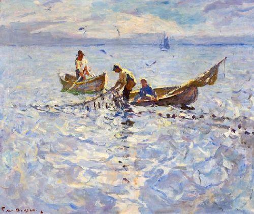 Dory Fishermen | Frank W Benson | oil painting